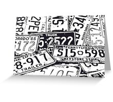 License Plates Black & White Greeting Card