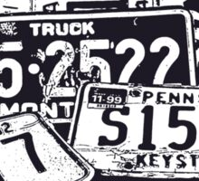 License Plates Black & White Sticker