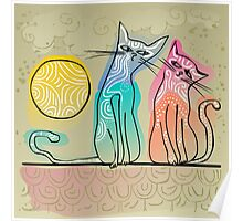 cute cats in love sitting on a roof Poster