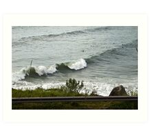 Waves and Surfers Art Print