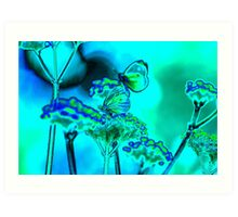 butterfly on verbena in blue Art Print