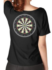 DARTS, Dart Board, Arrows, Target, Bulls eye, Pub, Game, on Black Women's Relaxed Fit T-Shirt