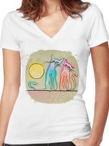 cute cats in love sitting on a roof Women's Fitted V-Neck T-Shirt