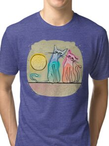 cute cats in love sitting on a roof Tri-blend T-Shirt