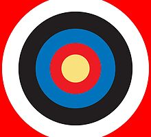 Bulls Eye, Right on Target, Roundel, Archery, on Red by TOM HILL - Designer