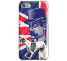 vintage mustache men british hunt dog Union jack iPhone Case/Skin