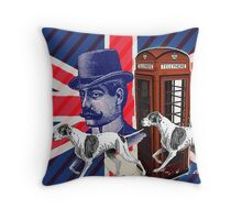 vintage mustache men british hunt dog Union jack Throw Pillow