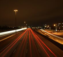 Freeway Light Trails - DVP Toronto by Kyle Johnstone