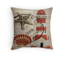 shabby chic vintage sea shells nautical lighthouse  Throw Pillow