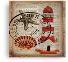 shabby chic vintage sea shells nautical lighthouse  Canvas Print