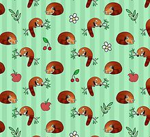 Red Panda Apple Cherry Pattern by SaradaBoru