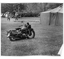 World War 2 Harley Davidson Motorcycle Poster