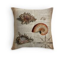 nautical french botanical art vintage compass sea shells  Throw Pillow