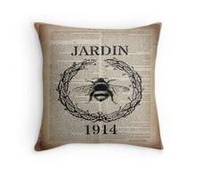 shabby chic retro french paris vintage bee Throw Pillow