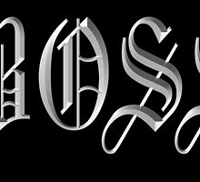 Boss, in Olde English! The BOSS, CEO, Chief, In Charge, On Black by TOM HILL - Designer