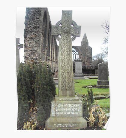 A Celtic Cross in Dunfermline Abbey's Graveyard Poster
