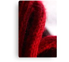 Macro Red Yarn Photograph Canvas Print