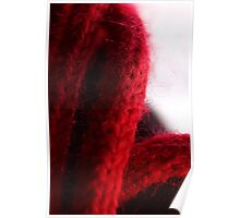 Macro Red Yarn Photograph Poster