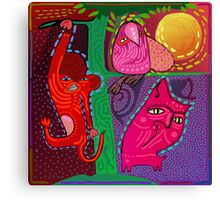 doodle animals hanging out Canvas Print