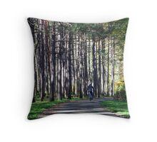 Biking Up the Wrong Tree Throw Pillow