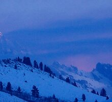 Teton Morning Blues (and Pinks) by A.M. Ruttle