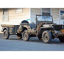 US Army jeep with trailer Photographic Print