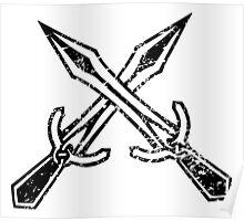 Skyrim Distressed Riften Logo - B&W Poster
