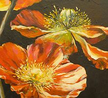 Poppies: detail from Poppies Too (for Lea Durham) by Elizabeth Moore Golding