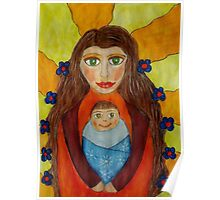 Mother and Child Naive Mixed Media Art Poster