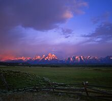 Tetons & Buck and Rail Fence by Mike Norton