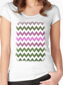 Pink Roses in Anzures 1 Chevron 1T Women's Fitted Scoop T-Shirt