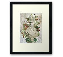 Victorian Lady White Statue Bust Green Plants Framed Print