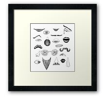 Fractured Facial Features Framed Print