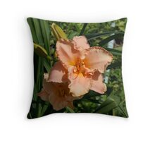 Salmon Colored Daylily Throw Pillow
