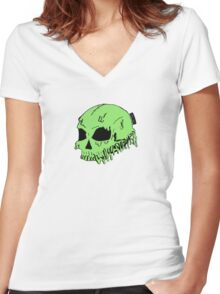 Dripping With Sarcasm - Green Skull Women's Fitted V-Neck T-Shirt