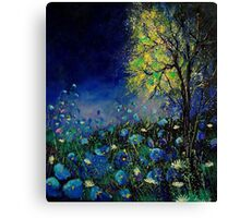 Blue poppies and daisies  Canvas Print