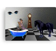 Am I Dreaming, Or Is There A Horse In My Bath Room? Canvas Print