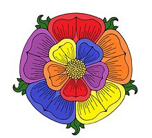 Multi-Colour Heraldic-Style Rose by Richard Fay