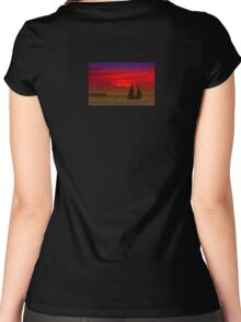 Red Boat in Sunset Women's Fitted Scoop T-Shirt