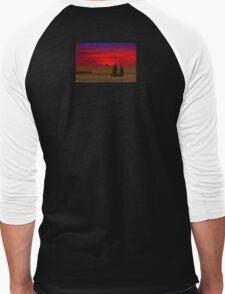 Red Boat in Sunset Men's Baseball ¾ T-Shirt
