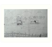 Ink drawing done by nine year old-(AMISH FARM) Art Print