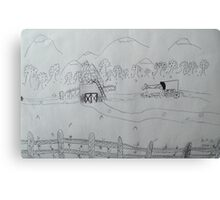 Ink drawing done by nine year old-(AMISH FARM) Canvas Print