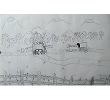 Ink drawing done by nine year old-(AMISH FARM) Photographic Print