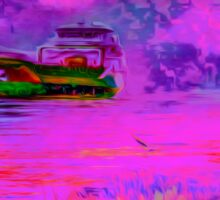 Unexpected pink colorful seascape Sticker