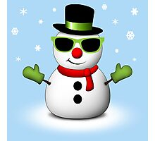 Cool Snowman with Shades and Adorable Smirk Photographic Print