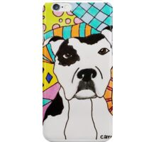White Spotted Pit Bull iPhone Case/Skin