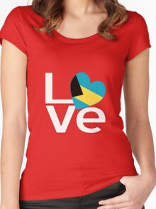 White Red Bahamas LOVE Women's Fitted Scoop T-Shirt
