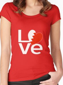 White Red Bahraini LOVE Women's Fitted Scoop T-Shirt