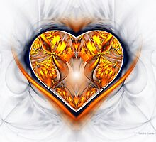 Gold and Sapphire Heart by Sandra Bauser Digital Art