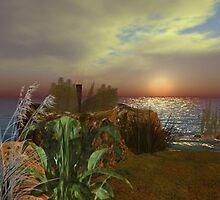 Sunset on Rocks by elsbethwriter